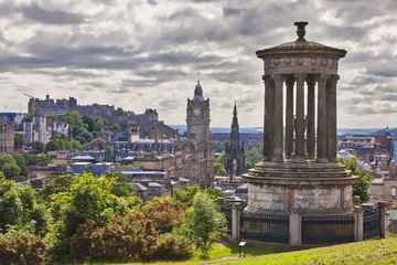 Dougald Stewart Monument and Edinburgh skyline, Scotland