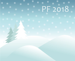 christmas winter landscape -  hills covered with snow and spruce tree, falling snow balls and text sign PF 2018 new year vector greeting card