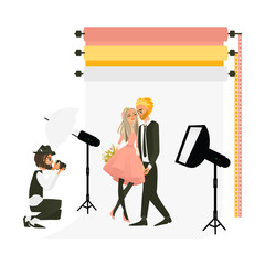 Photographer taking shooting a wedding couple in fully equipped photo studio, flat cartoon vector illustration on white background. Professional photographer working in studio, shooting a couple