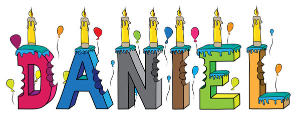 Daniel first name bitten colorful 3d lettering birthday cake with candles and balloons Wall mural