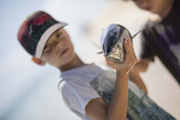 Close up of a boy holding fish