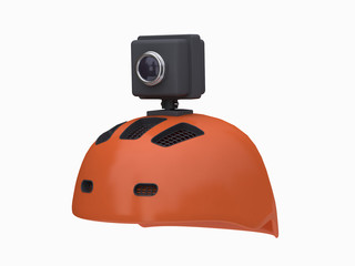 orange helmet black action camera white background 3d rendering
