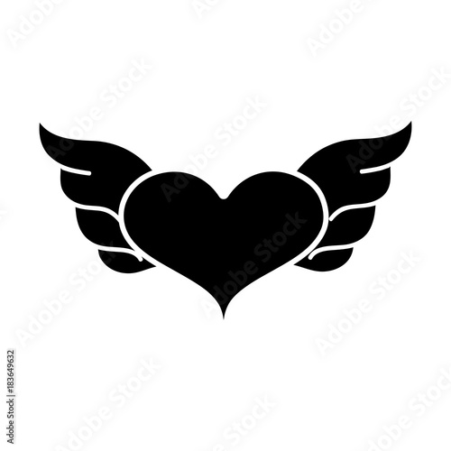 Contour Heart With Wings Symbol Love Art Stock Image And Royalty