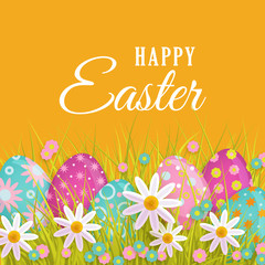 vector easter holiday poster, banner background template with spring festive elements - decorated eggs, daisy flowers, green grass for your design. Illustration on orange background.