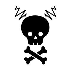 contour skull with bones to dander symbol to death