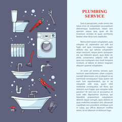 Plumbing service poster, leaflet, web page design with bathtub, toilet bowl, sink, washing machine, plumber tools and place for text, cartoon vector illustration Plumbing services poster template