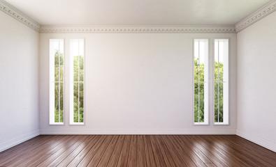Leeres Zimmer mit dunklem Holzfußboden