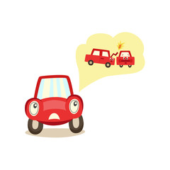 vector cartoon car with eyes worrying about possible crashing with another vehilce thinking about it experessing negative emotion. Isolated illustration on a white background.
