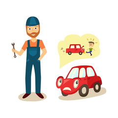 vector cartoon car with eyes worrying about possible problems with engine and owners angry punching reaction thinking about it with negative emotion and mechanic with wrench. Isolated illustration