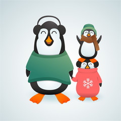 Family of cute penguins in winter clothes cheerfuly celebrating christmas. Vector illustration