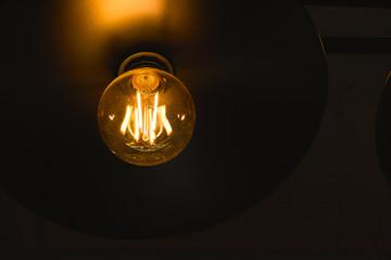 Tungsten light bulb on dark background and orange radius