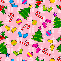 Abstract seamless wrapping pattern for girls, boys. Creative vector wrapping background with gloves, Christmas tree, ornamentation. Funny wallpaper for textile and fabric. Fashion wrapping style.