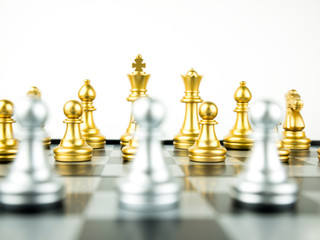 Gold and Silver King and Knight of chess setup on white background . Leader and teamwork concept for success. Chess concept save the king and save the strategy