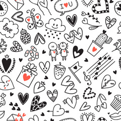 Love concept. Hand drawn romantic seamless pattern. Lovely symbols. Valentine's day background
