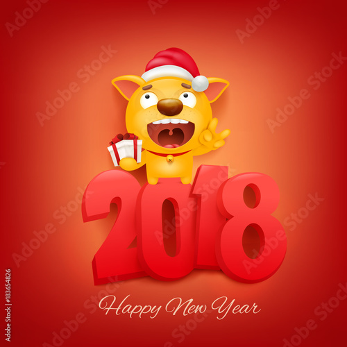2018 new year invitation card with yellow dog cartoon character