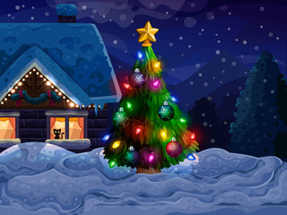 House with Christmas tree and snow
