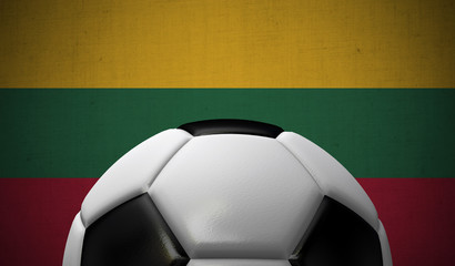 Soccer football against a Lithuania flag background. 3D Rendering