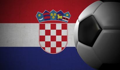 Soccer football against a Croatia flag background. 3D Rendering
