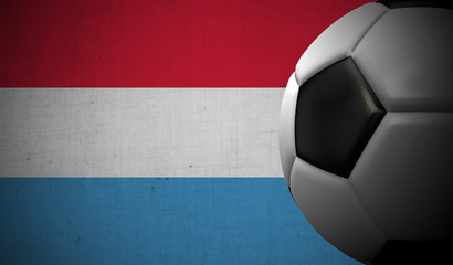 Soccer football against a Luxembourg flag background. 3D Rendering