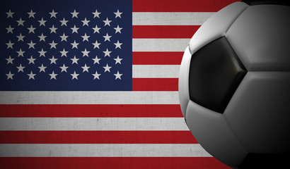 Soccer football against a USA flag background. 3D Rendering