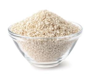 Glass bowl of sesame seeds