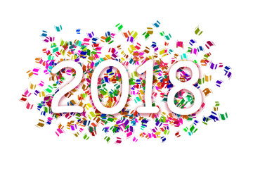 white inscription year 2018 on a background with colorful flying sticky notes on a white background