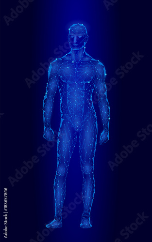 29c2471477cc6 Android robot humanoid optimal perfect man fitness sport shape. Polygonal  geometric point line particle blue glow vector illustration