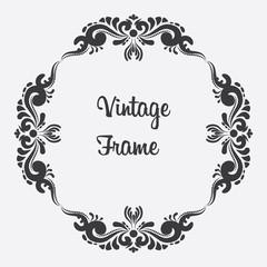 Vector black square vintage frame. Floral ornament
