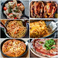 Collage of delicious Italian food menu