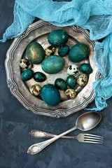 Easter still life with colorfull eggs. Top view