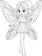 coloring cute fairy with wings.