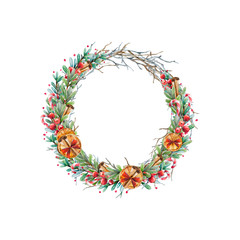 Watercolor Christmas wreath of twigs and boxwood with red berries decorated of dried oranges; cinnamon; candy canes. Beautiful and bright  frame for your holiday, warm wishes and design