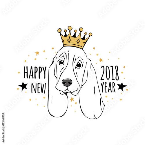 Vector drawn funny poster. Trendy cute basset hound or dachshund ...