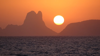 Sunset West of Ibiza from the Sea