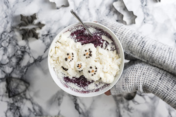 Winter Christmas Smoothie Bowl with Coconut and Snowman