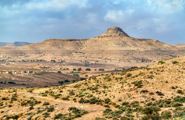 Typical South Tunisian landscape at Ksar Ouled Soltane near Tataouine