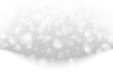 Merry Christmas Falling Snow Effect with Realistic Vector Snowflakes Overlay on Light Muted Silver Background. Xmas, Happy New Year, Noel, Yule Winter Season Holidays Abstract Art Illustration