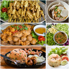 Collage of Thai food menu
