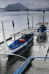 Pump boats in Taal lake under heavy rainfall. Talisay-Batangas-Luzon-Philippines. 0005