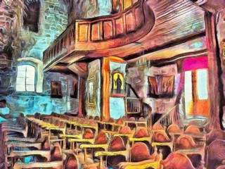 Interior inside a Christian Catholic church or monastery. Stock. Big size pictorial art. Watercolor and oil mixed painting style. Good for printing art pictures, design postcard, posters and wallpaper