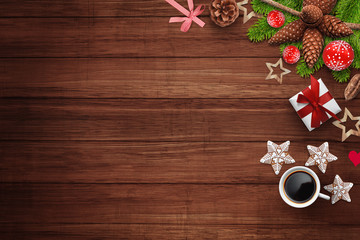 Wooden background with Christmas decoration on right side with coffee and cookies, free space for adding text, logo etc...