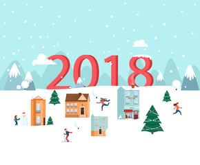 2018 New year. Greeting card. Winter nature landscape.