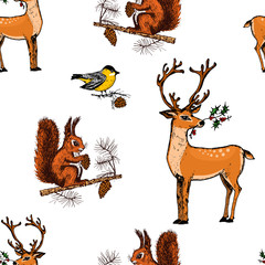seamless pattern deer, squirrel and Christmas animals. New Year penguin and bird cardinal or tit in the forest. winter holidays. engraved hand drawn in old sketch and vintage style for postcards.