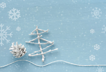 Christmas and New Year decorations on blue background