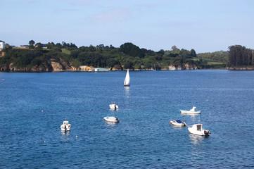 Veleros y barcas de pesca en el mar. Ribadeo bay with sailboats and fishing boats in the sea.