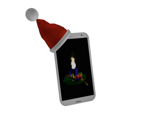 Handy mit Weihnachtsmannmütze und Adventsbild mit Kerze.