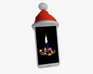 Handy mit Weihnachtsmannmütze und Adventsbild auf dem Handy.