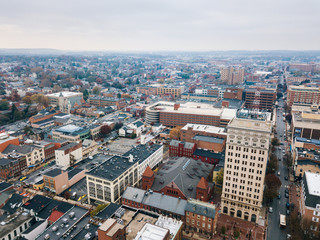 Aerial of Downtown Lancaster, Pennsylvania areound the Central Markets
