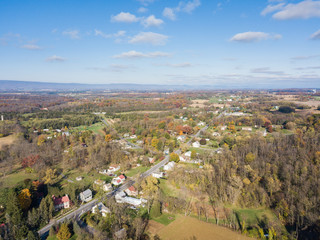 Aerial of Farmland Surrounding Shippensburg, Pennsylvania during late Fall