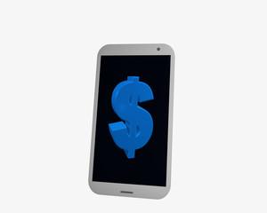 weißes Handy mit Dollarzeichen, isoliert auf weiß.